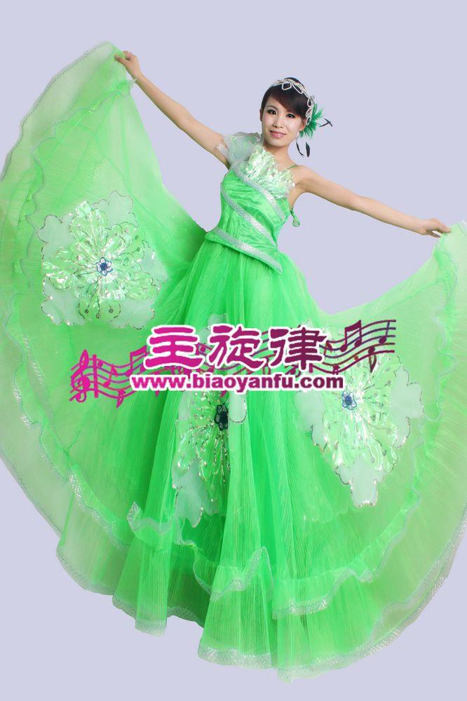 D-024大摆裙绿色