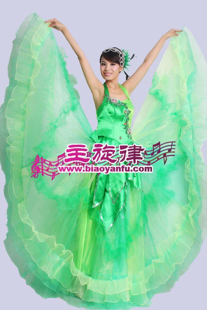 D-015大摆裙绿色亮片纱