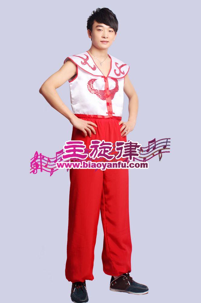 H-040男汉族白红裤