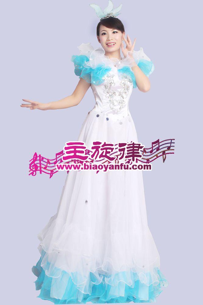 D-022感恩的心白蓝长裙