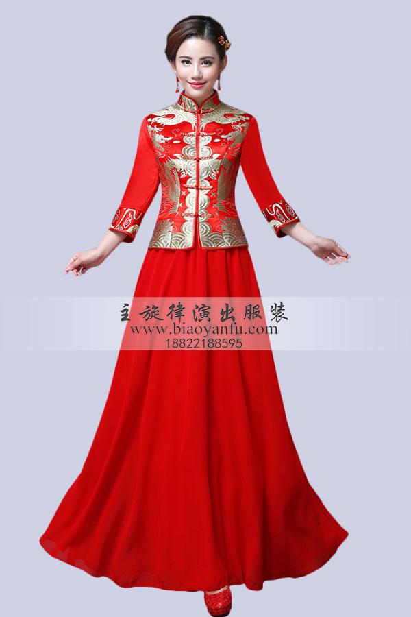 礼仪长袖旗袍