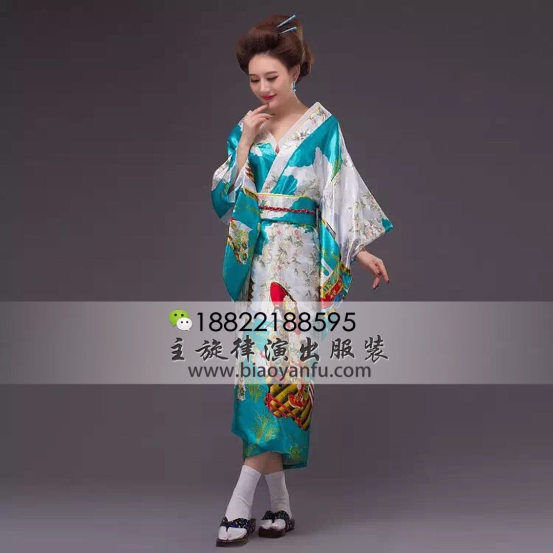 HK-034日式和服蓝绿