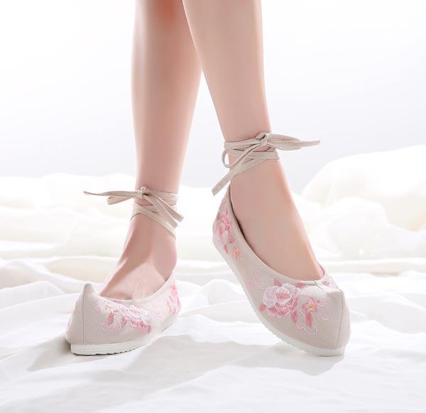 ha51汉服鞋绣花鞋-米白